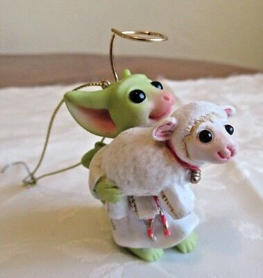 Whimsical Pocket Dragons Musgrave Christmas Ornament Holding LAMB 2003
