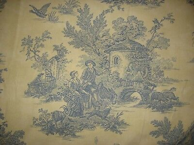 """4+yds Kingsway """"Country Squire"""" Blue Cream Toile Upholstery Fabric"""