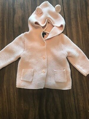 Baby Girl Gap 6-12 Months Knit Pink Bunny Ear Jacket
