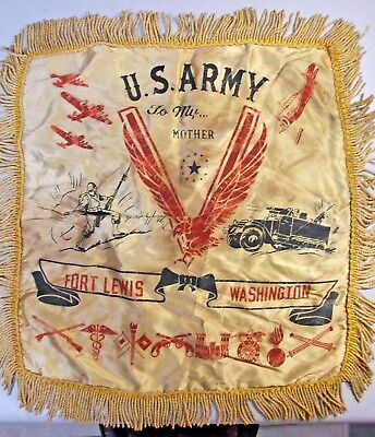 """Orig WWII U.S. Army Fort Lewis Washington """"TO MY... MOTHER"""" pillow sham"""