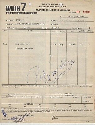 Vintage Commercial Invoice / Wrik Tv Station / Ponce Puerto Rico 1973