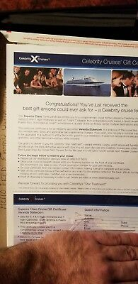 Celebrity Cruise line Cruise gift certificate for 2  for Veranda Stateroom carb