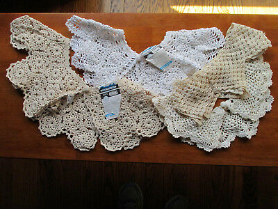 Crochet Collars White Ecru Cotton Button Front Sewing Craft Upcycle 4 Pieces