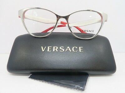 Versace Women's Silver Glasses with Case 53mm MOD 1245 1000