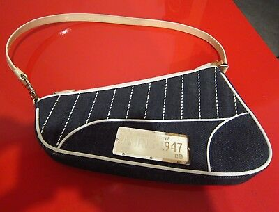 authentic Christian Dior Chris 1947 License  Denim Shoulder Bag