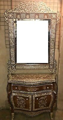 Antique Egyptian Wood Sideboard, Inlaid Mother of Pearl + Wall Mirror Frame