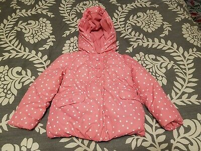Gymboree Cozy Fairytale Girls Winter Coat Jacket Hood Zipper Pink w/ Stars 2T 3T