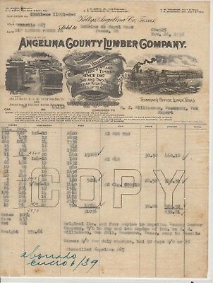 Vtg Illustrated Commercial Invoice-Angelina County Lumber/ Keltys Texas 1938