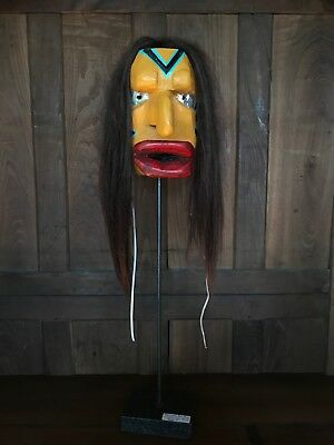 Iroquois False Face Mask. Unsigned & undated. Big Nose, W/Custom Marble Stand