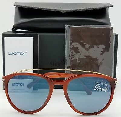8a016df7b1 NEW PERSOL sunglasses PO3159S 904656 55mm Tortoise Blue 3159 Big Round  AUTHENTIC