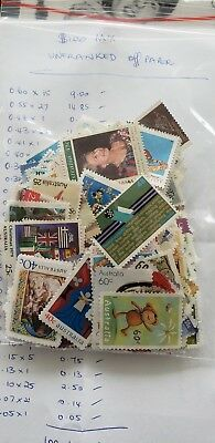 Unfranked Stamps Mixed Denominations OFF PAPER !  FV $100 FREEPOST !