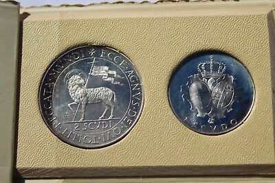 Order Of Malta 1970 RARE 1&2 Scudi Silver Proof Set~879 Minted