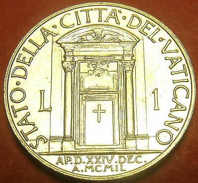 Rare Unc Vatican 1950 Lira~Holy Year Door~Only 50,000 Minted