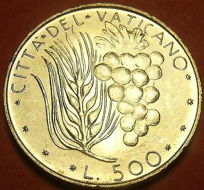 Vatican 500 Lire 1972 Gem Unc Silver~Rare 125,000 Minted~Wheat And Grapes~Fr/Shi