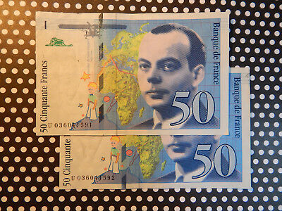"""(2) SEQUENTIAL 50 Franc Notes / """"ANTOINE DE ST.-EXUPERY"""" / 1997  / UNCIRCULATED!"""
