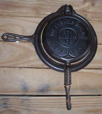 Vintage Griswold New American No. 8 Cast Iron Waffle Iron~975B,976A,977B U.S.A.