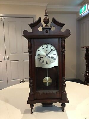 Polaris 31 Day Wind Up Wall Clock with Pendulum and Key - Working