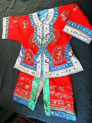 Antique Vintage Chinese Silk Embroidered Robe Jacket and Pants