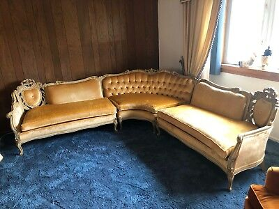 Vintage French Provincial Victorian Style Sectional 3 Pieces Sofa Couch Set