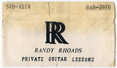 Randy Rhoads Guitar Lessons Business Card