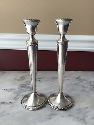 Pair Of Crown Sterling Silver Weighted Candle Holders, 9 3/4 Inches Tall