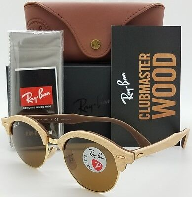 200ad769b84 NEW Rayban Clubround Sunglasses RB4246M 117957 Wood Polarized Wooden  Clubmaster