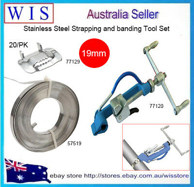 3 in 1 Set Stainless Steel Strapping and Banding Tool Kit,Band,Buckles & Tools