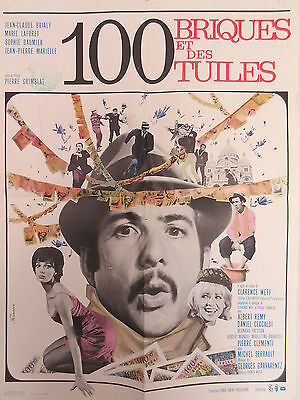 Old 1965 French Movie Poster 100 Briques et des Tuiles Jean-Claude Brilay