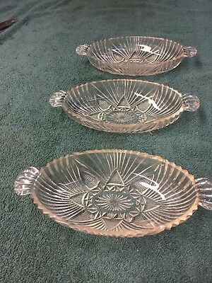 Vintage Clear Glass Candy Relish Pickle Olive Serving Dishes Lot of 3