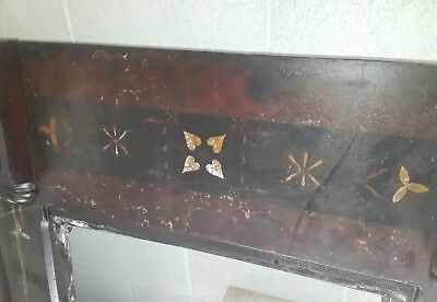 Antique - Hand Painted - Cast Iron - Fireplace & Marble Mantle - Dutch German