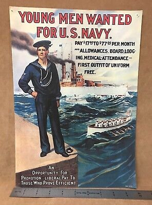 Vintage WW1 Recruiting Poster Young Men Wanted for U.S. Navy Great War RAD 73713