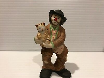 """Emmett Kelly Jr Collection Hobo Clown  WITH CAT Figurine 3 1/4"""" TALL MINT COND."""