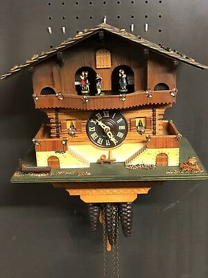 Cuckoo Clock German Black Forest working SEE VIDEO Musical Chalet 1 Day CK2096