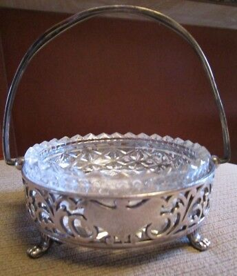 Vintage Silver Plated Reticulated Basket With Glass Liner  Forbes Silver Co.  U.