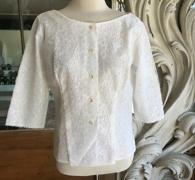 Vintage 1960s White Lace 3/4 Sleeve Blouse NOS New Old Stock 38 Bust