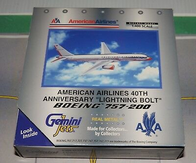 1/400 scale American Airlines 40th anniversary colors Boeing 757 by Gemini Jets.