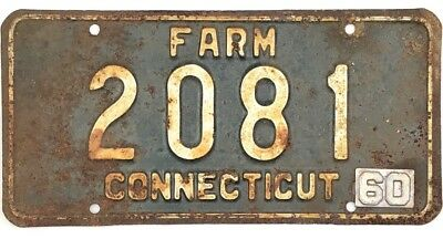 1960 Base Connecticut FARM License Plate #2081 W/ First Year 1960 Tab No Reserve