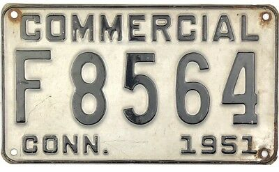 1951 Connecticut COMMERCIAL License Plate #F8564 NICE No Reserve