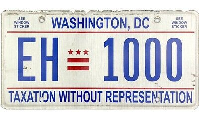 Washington DC District Of Columbia License Plate #EH1000 TAXATION No Reserve