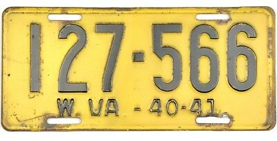 1940-1941 West Virginia License Plate #127-566 No Reserve