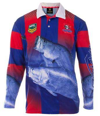 Newcastle Knights Nrl Adult Long Sleeve Fishing Polo Shirt With Collar