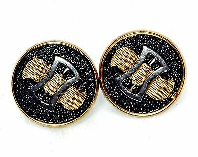 PERFECT Pair Antique Vtg FRENCH Glass Buttons VICTORIAN Deco Belt Buckles A67