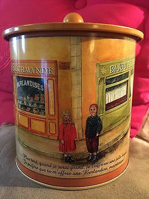 Les Berlandises BonBons Large Cylinder Tin Can/French/Gold/Old Time Look/Empty!