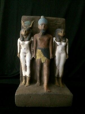 ANCIENT EGYPTIAN EGYPT ANTIQUES Statue Osiris and Nephthys and Isis 1500-300 BC