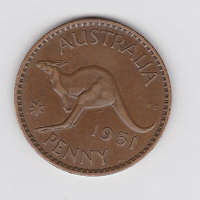 1951L Australia Kgvi Penny - Very Nice Collectable Coin