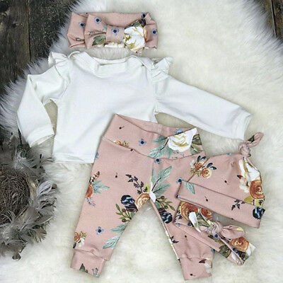 UK Newborn Toddler Baby Girls Clothes T-shirt Top Leggings Outfit Set Tracksuit