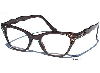 6b28bd68f2e Cat Eye CLEAR LENS GLASSES Tortoise Shell Design with Rhinestones Vintage  Style