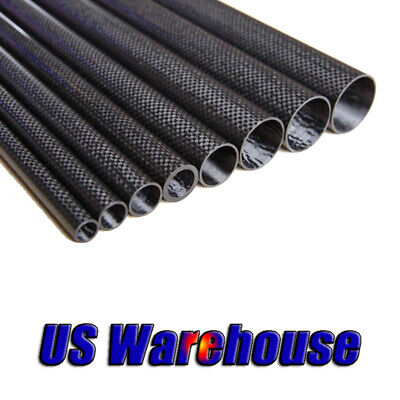 2pcs 3k Carbon Fiber Tube OD5mm* ID3mm*500mm Glossy Surface Roll Wrapped 5*3 US