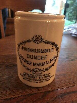 VTG James Keiller & Son LTD Dundee Orange Marmalade Stoneware Glass Jar