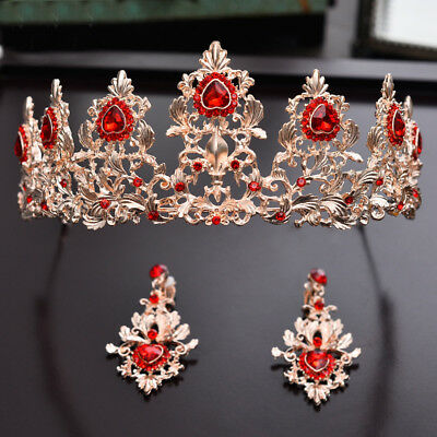 6cm High Heart Golden Red Crystal Wedding Pageant Prom Tiara Earrings Set F95